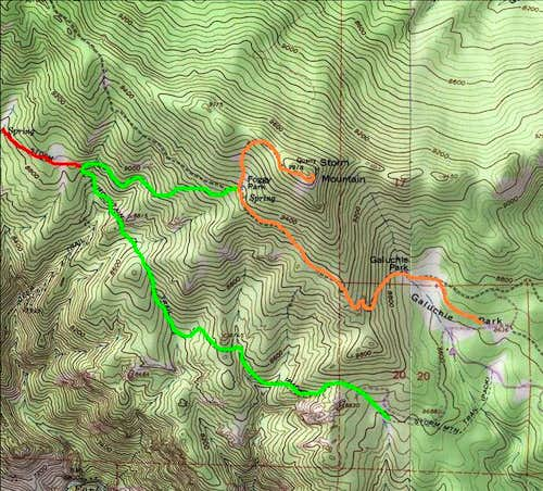 Routes to Storm Mountain