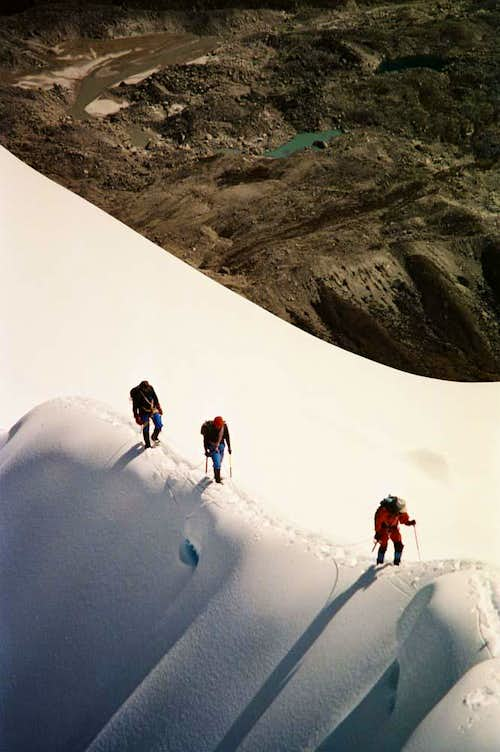 On the summit ridge of Lobuche East