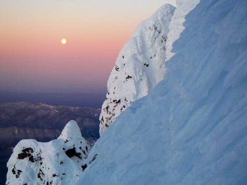 Moon-set and sunrise