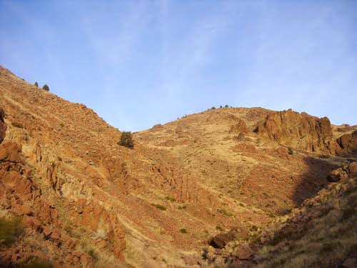 View up the rocky canyon on Christmas Eve