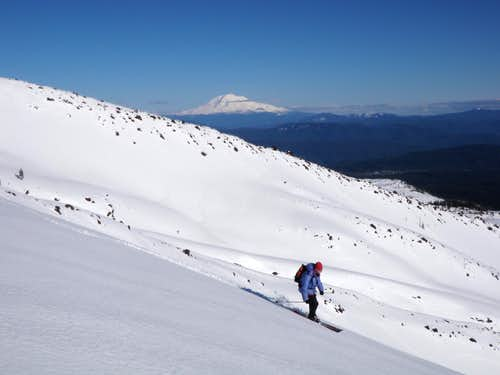 Skiing St. Helens with Adams in Background