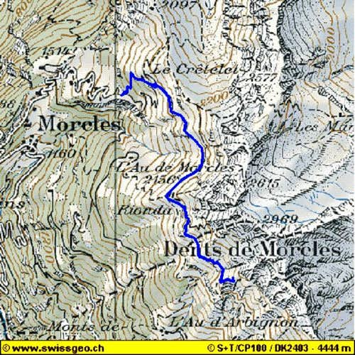 Dent de Morcles - Map with...