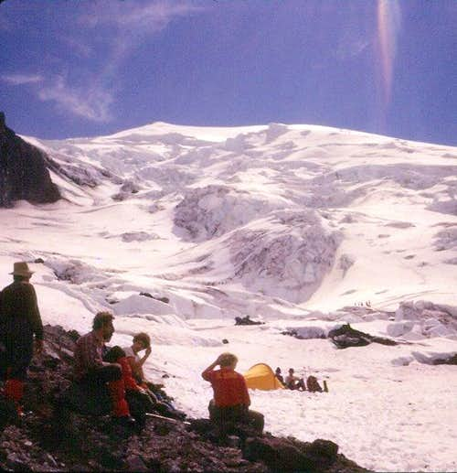Mt. St. Helens: Looking up the Forsythe Glacier, August 1977