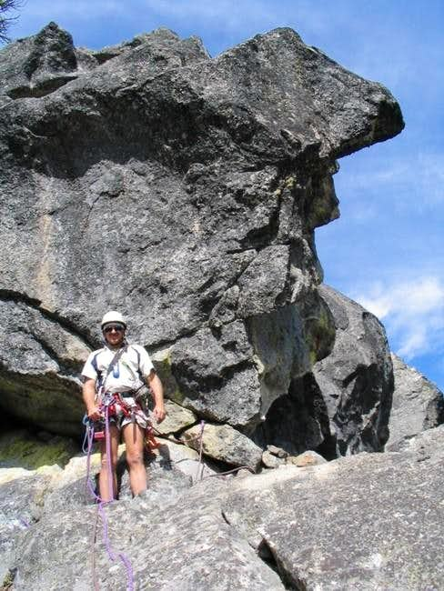Belay ledge at the top of the...