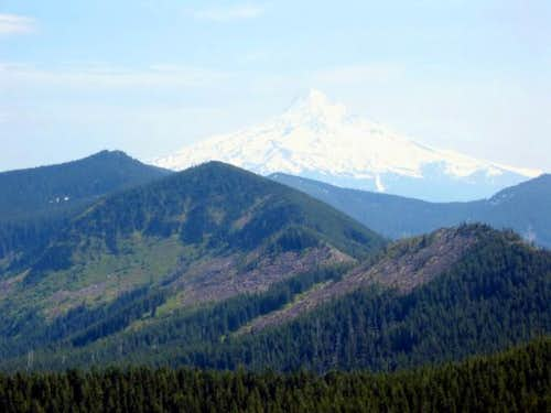 Mt. Hood towering over...