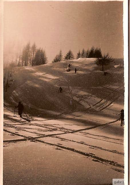 skiing down from Frejus