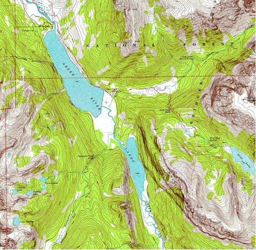 USGS Map with Northeast Slopes of White Rock Mountain Route Shown