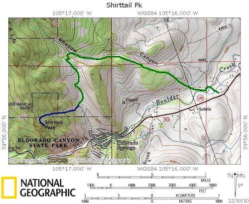 North Ridge of Shirttail Peak from Mesa South Trailhead