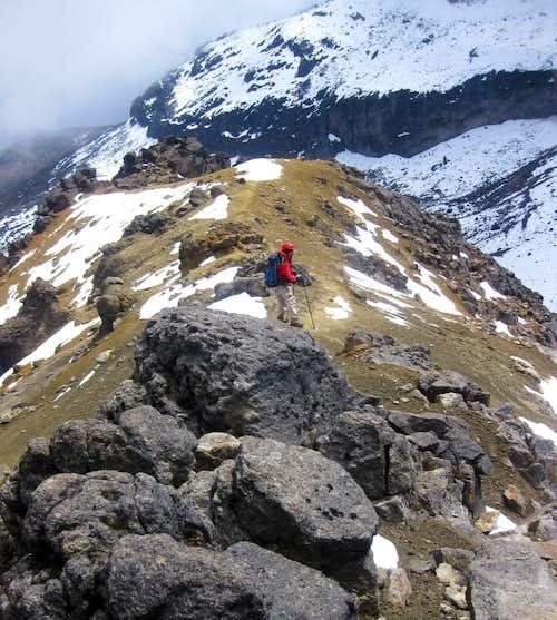 Descending Iliniza Norte - almost back at the saddle