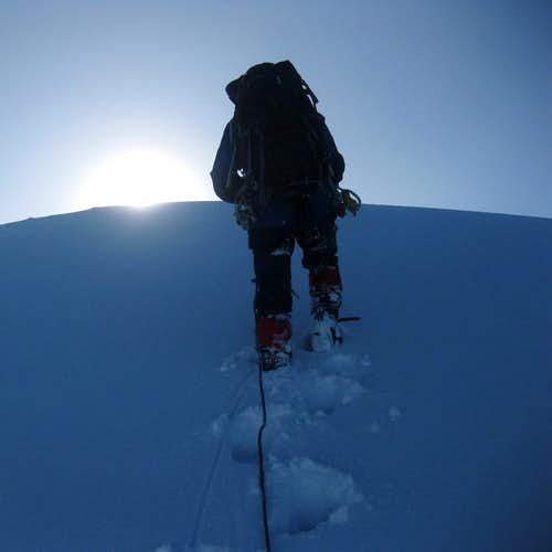 Marcial approaching the summit of Iliniza Sur