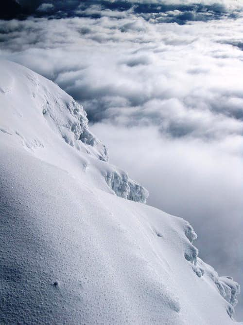Descending Iliniza Sur - back down into the clouds