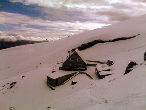 Cotopaxi refuge after snowfall.