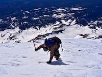 Downclimbing on ice