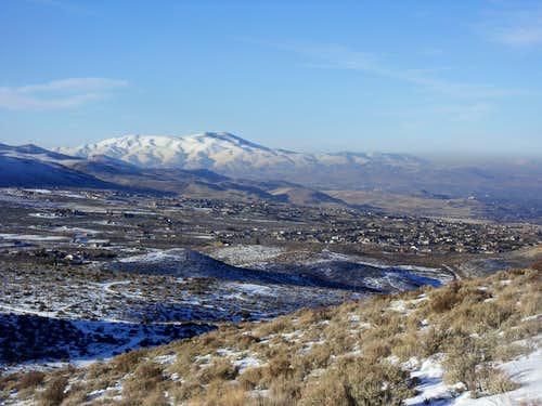 Peavine Peak 8266' from the summit ridge of the Steamboat Hills.