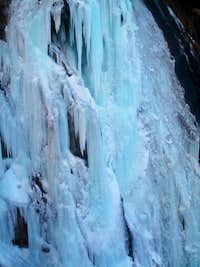 Close-up on frozen waterfall