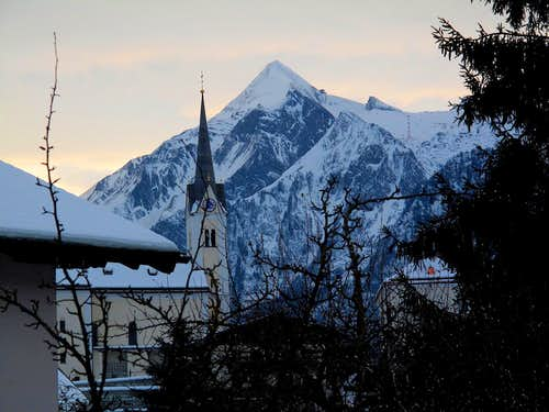The elegant shape of the Kitzsteinhorn seen from the village of Kaprun