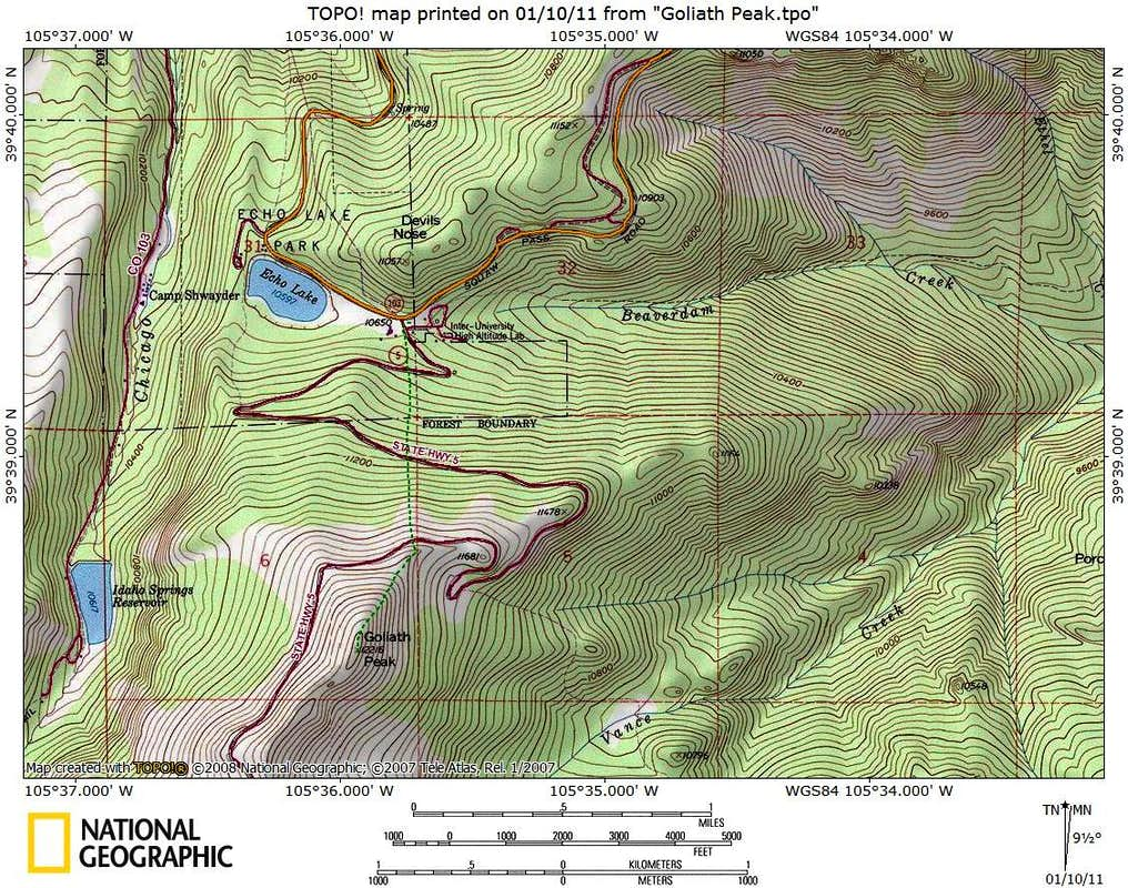 Rout Map, from Echo Lake