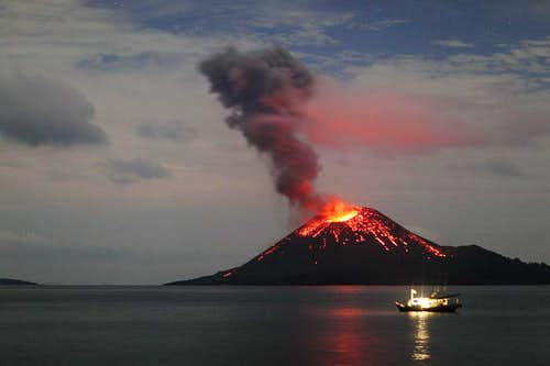 Krakatau at night