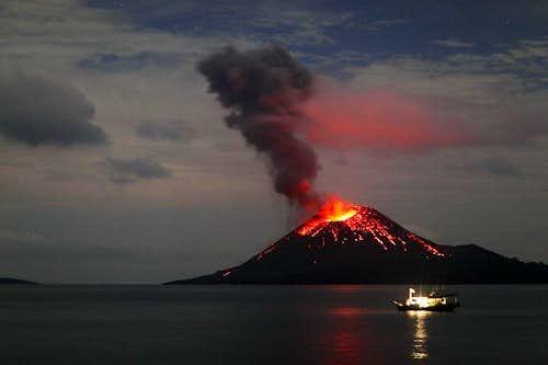 Krakatau at night
