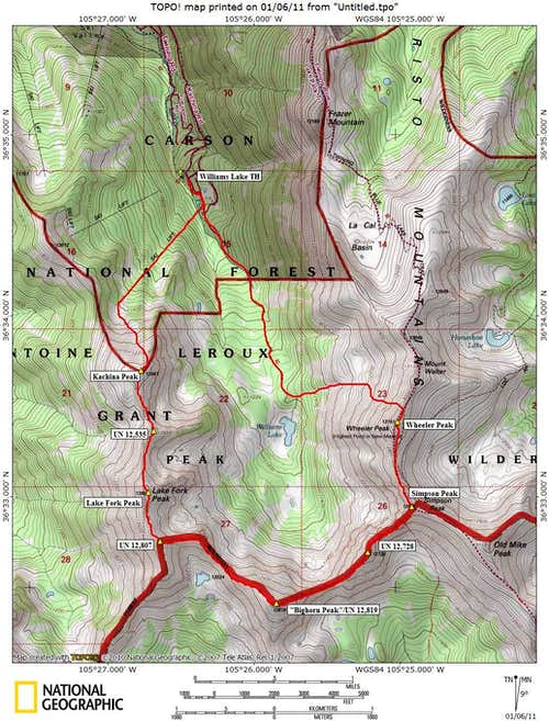 Kachina-Wheeler Traverse Route Map