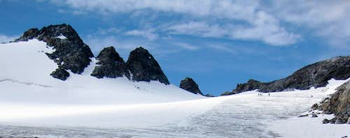 On the Roseg glacier, just north of Piz Glühschaint