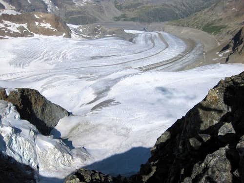 The Pers and Morteratsch glaciers from Cresta d\'Arlas