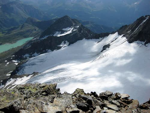 View east to the Cambrena glacier and Lago Bianco from Cresta d'Arlas