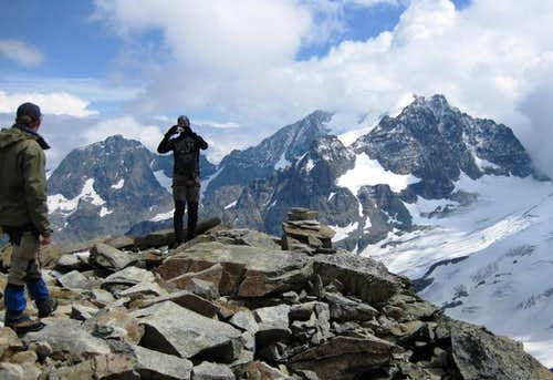Summit view from Il Chapütschin, with Piz Morteratsch, Piz Bernina and Piz Roseg