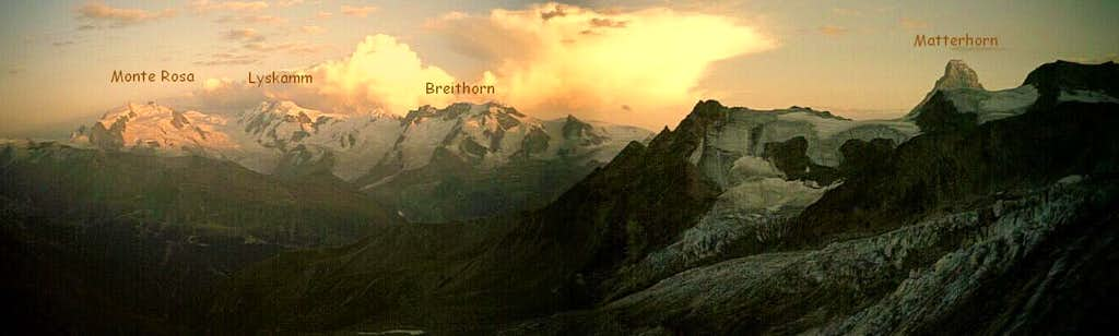 Views of Monte Rosa - Lyskamm - Breithorn - Matterhorn from the Rothorn Hut