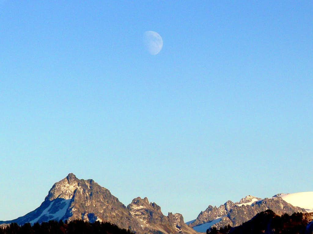 Mountains and the moon