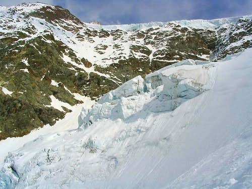 Icefall and avalanche on the ski slope from  the Tierbergli Hut