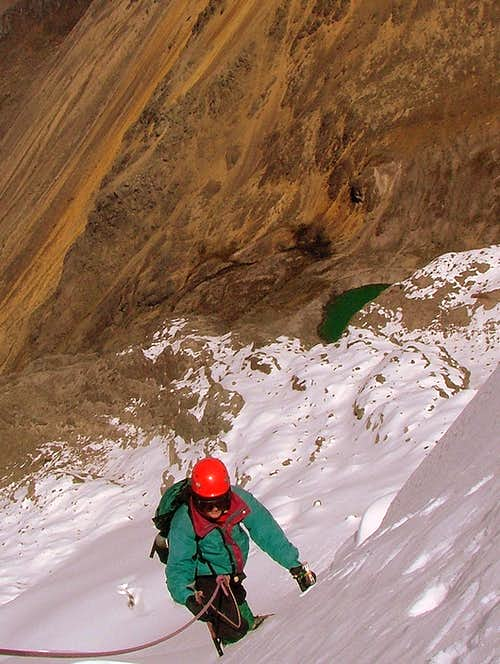 Climbing the second ramp on Illiniza Sur..