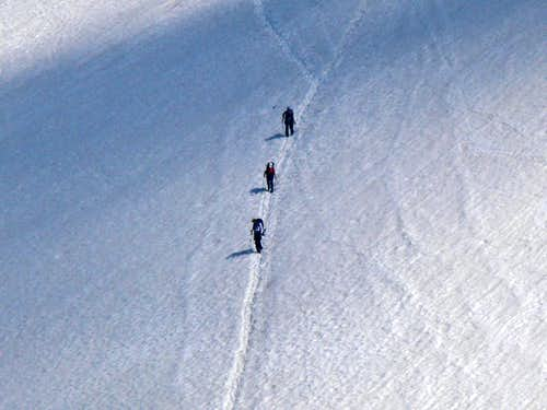 Climbers heading down Mount Baker