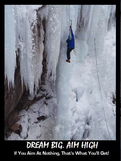On a WI5+/6 Pillar in Ouray, CO
