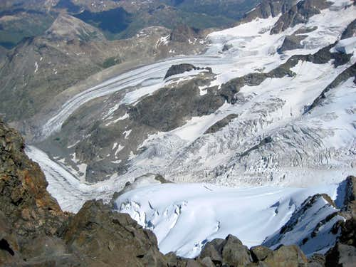 The Morteratsch and Pers glaciers