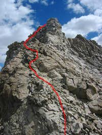 Route to the summit from the...