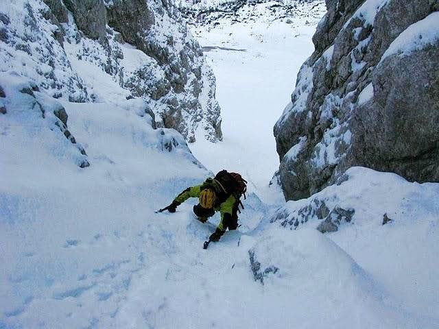Alpine climbing at Zeleniška grapa (ravine)