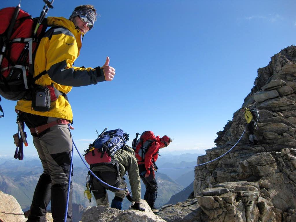 Scrambling up Piz Spinas