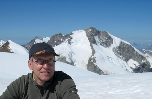 Paul on Piz Palü, with Piz Bernina behind him