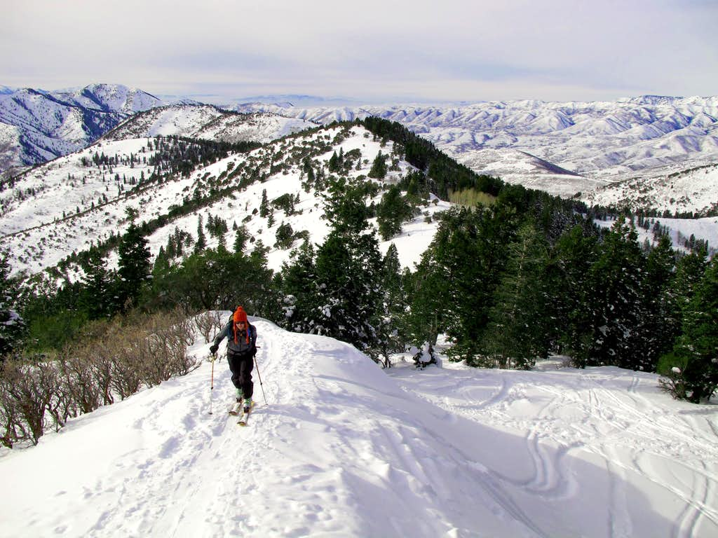 Skinning near the top of Summit Park Peak