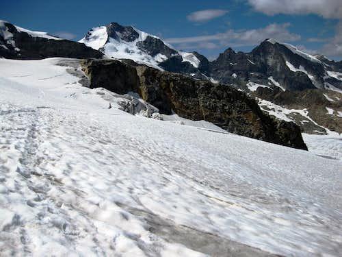Piz Bernina and Piz Morteratsch from the Pers Glacier, just north east of Piz Palü