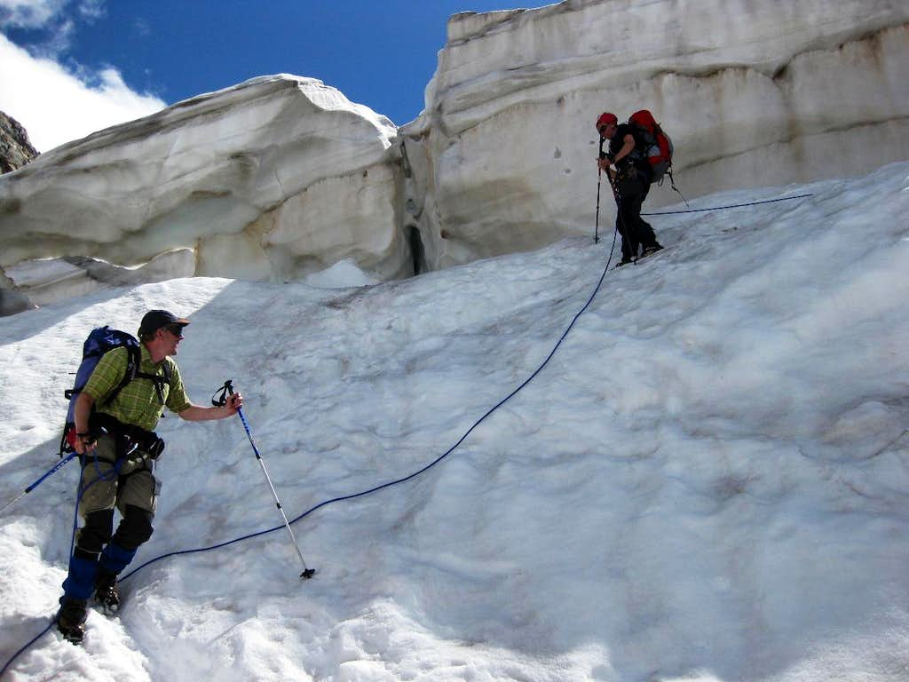 Navigating the crevasses on the Pers Glacier