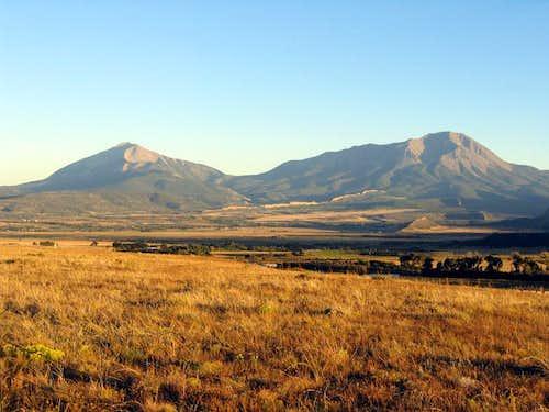 The Spanish Peaks at sunset