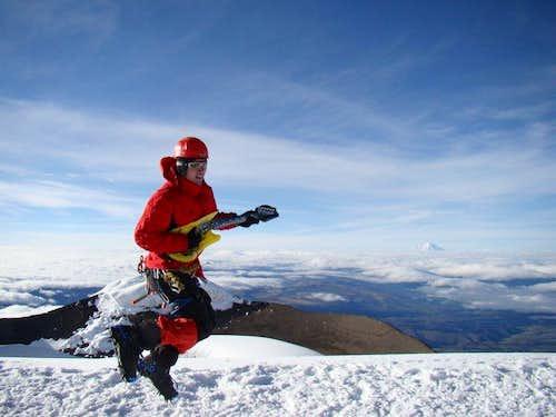 Rocking on Cotopaxi summit.