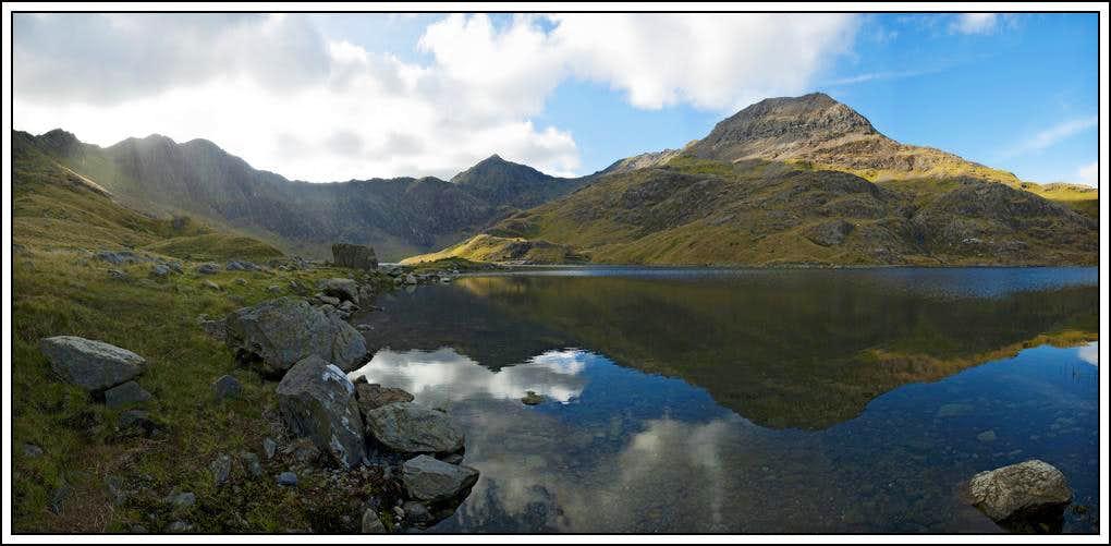 Y Llywedd, Yr Wyddfa (Mt Snowdon) and Crib Goch over the water