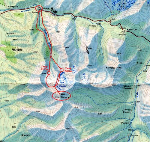 Map of Jitan Zhoma NW face route