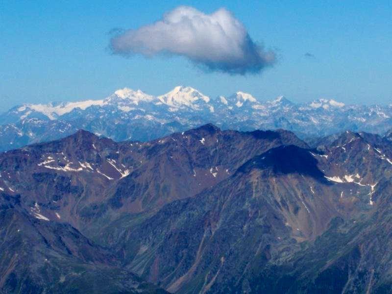 The Bernina Range seen from the Hochwilde, 100 km away