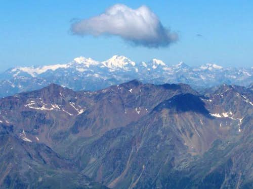 The Bernina Range seen from the Hochwilde, 100 km away