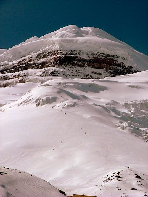Climbers on the way down. Cotopaxi.
