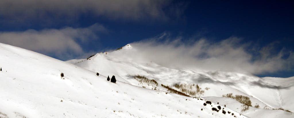 Clouds peeling off of Rocky Peak